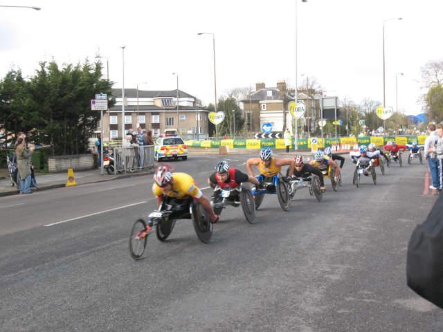 London Marathon at Shooters Hill - wheelchairs