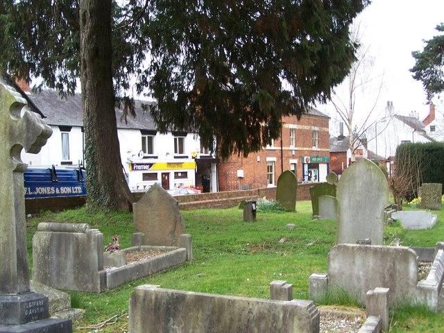 Minsterley shops and Churchyard.
