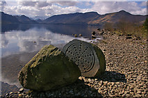 "NY2621 : ""Hundred Year Stone"" and the Cat Bells ridge by Ian Capper"