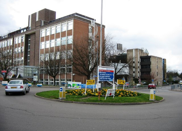 Roundabout at the main entrance to Addenbrooke's Hospital by Sandy B