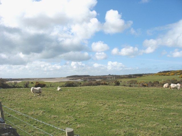 Sheep pastures with the Inland Sea in the background