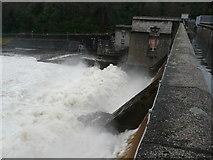 NN9357 : Loch Faskally overflows the dam (2) by Russel Wills