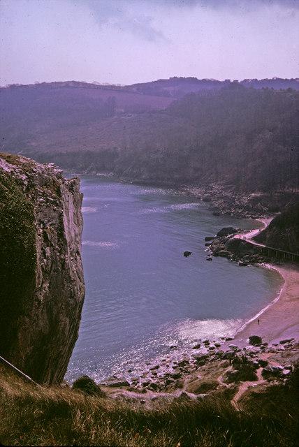 Redgate Beach from Walls Hill, Torquay, Devon taken 1964