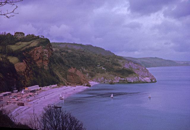 Oddicombe Beach from Babbacombe Downs, Devon taken 1964