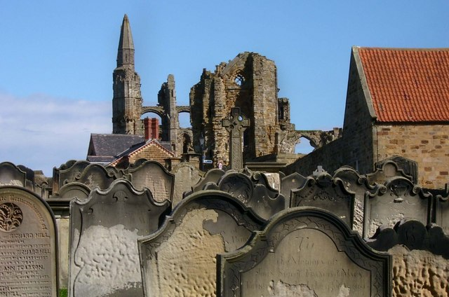 Whitby Abbey and Gravestones in St Mary's Churchyard