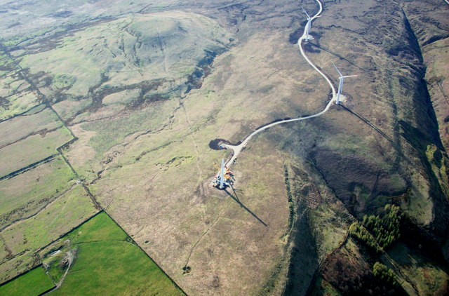 Aerial View of Scout Moor Wind Farm Turbine No 2