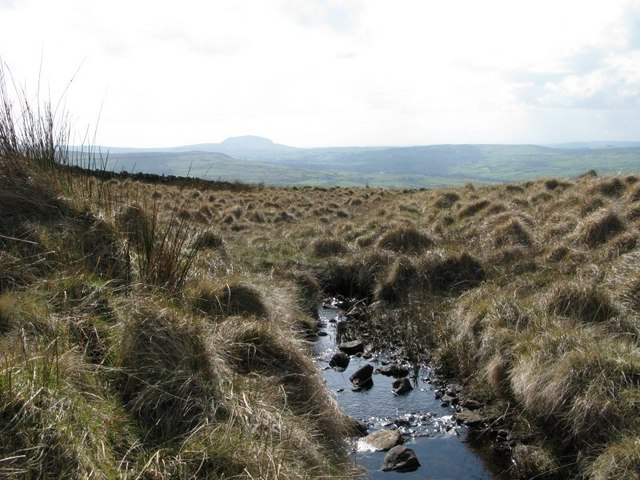 Top of Clady Burn with Slemish behind