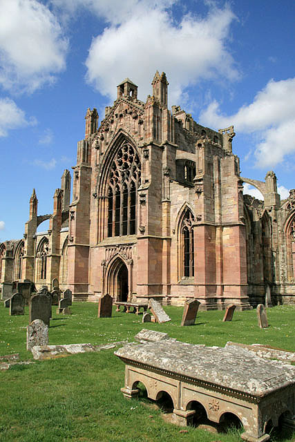Melrose Abbey from the burial ground