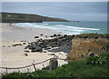 SW5141 : St Ives surfers - off Porthmeor beach by Pauline E