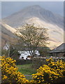 NY1808 : Row Head (house) and Great Gable, Wasdale Head by Andrew Hill