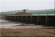 SD0894 : Train Crossing Eskmeals Viaduct by Steve Partridge