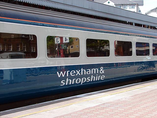 Temporary branding on a Wrexham & Shropshire carriage
