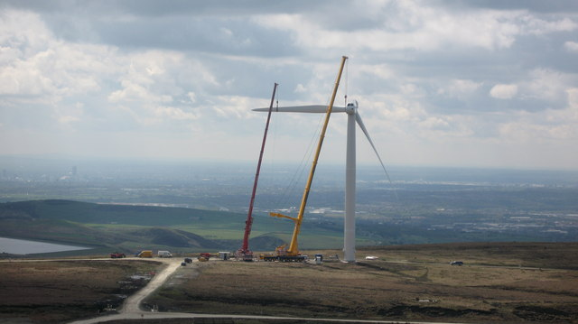Second Blade is Attached to Turbine Tower No 11