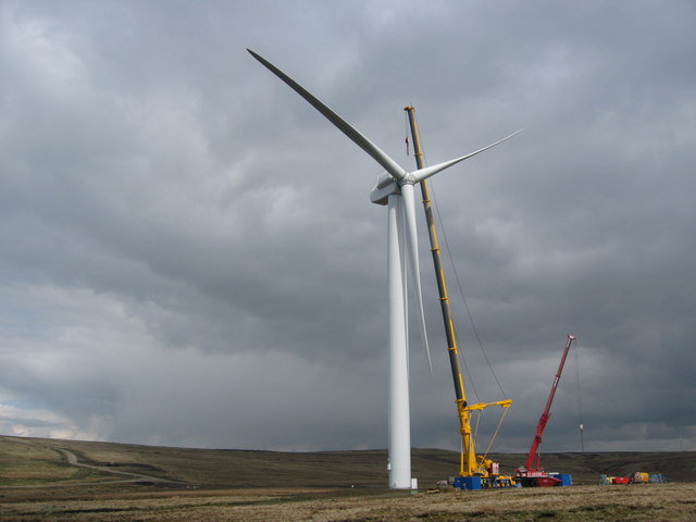 Completed Turbine Tower No 11 on Scout Moor