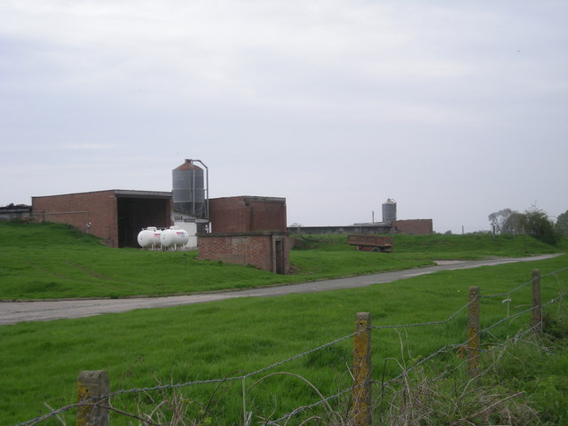 Farm buildings with gas tanks