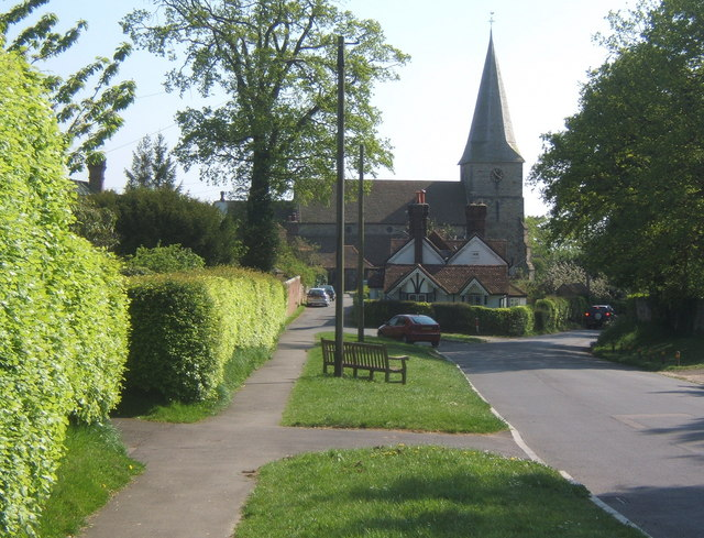 Looking down the hill to All Saints Church, Old Heathfield
