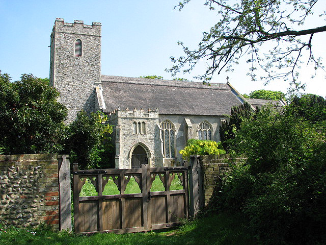 St Andrew's church viewed from churchyard gate