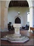 TG0400 : St Andrew's Church, Deopham, Norfolk - Font by John Salmon