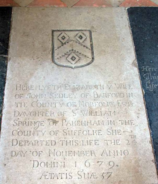 St Botolph's Church, Barford, Norfolk - Ledger slab