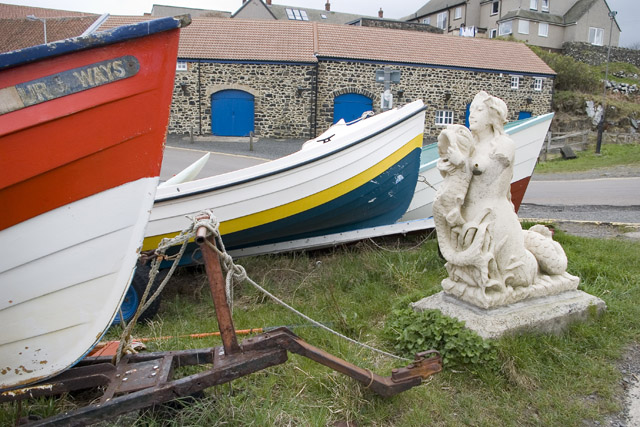 Mermaid and boats at Craster harbour