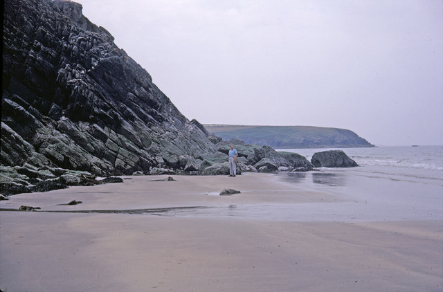 Cliff meeting beach Whitesands Bay, Pembrokeshire taken 1968