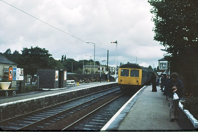 Bromley Cross station and signalbox 1978