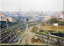 SJ8499 : Miles Platting incline/ Newtown carriage sidings 1989 by Peter Whatley