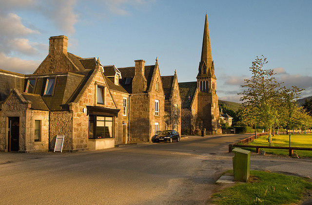 Buildings on the east side of the village green - Aboyne
