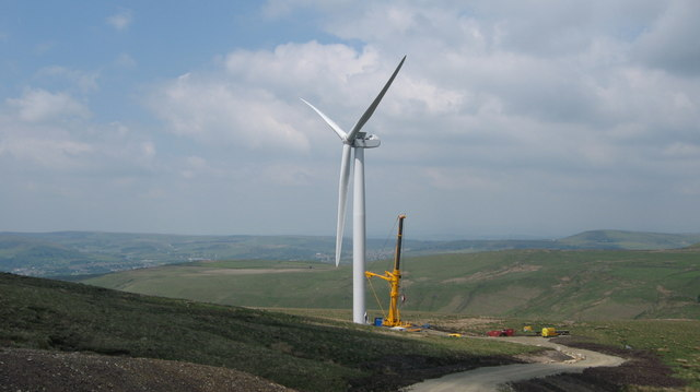 Completed Turbine Tower No 26 on Scout Moor