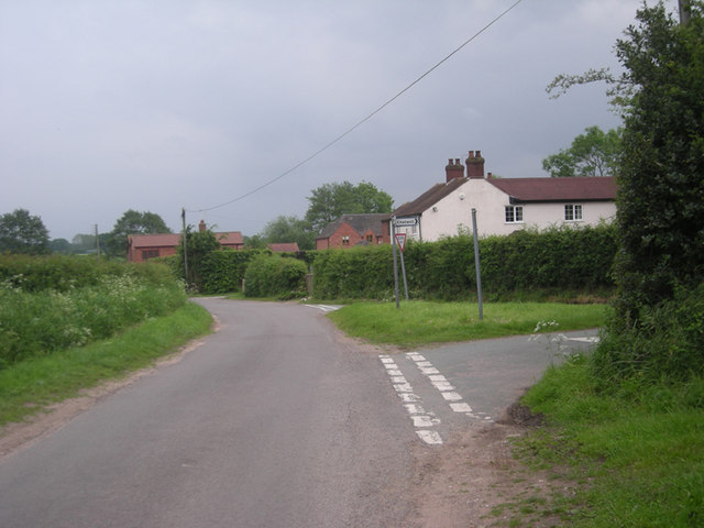Lane junction at Blymhill Marsh