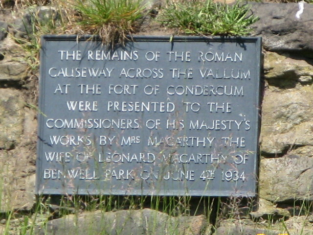 Plaque at the Vallum crossing at Benwell Fort