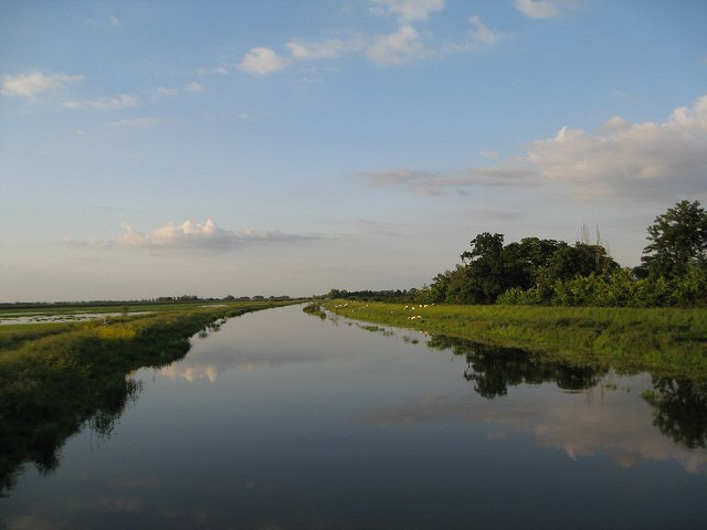 Looking down the Hundred Foot Drain to the sea