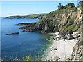 SW7929 : Beach below High Cliff Maenporth by Rod Allday