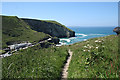 SX0586 : Tintagel: path from Tregatta by Martin Bodman