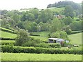 SO1570 : Enclosed land and barns, Cwmaran by Richard Webb