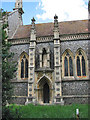 TG1222 : The church of St Michael & All Angels - the priest door by Evelyn Simak