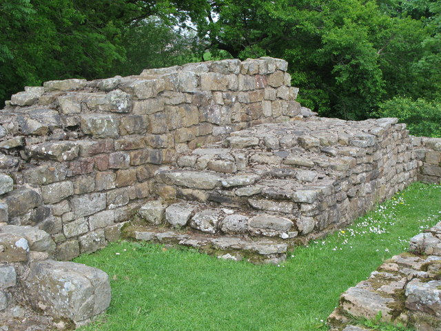 Remains of a flight of stairs, Milecastle 48