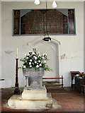TF9434 : St Mary's church - C13 font by Evelyn Simak