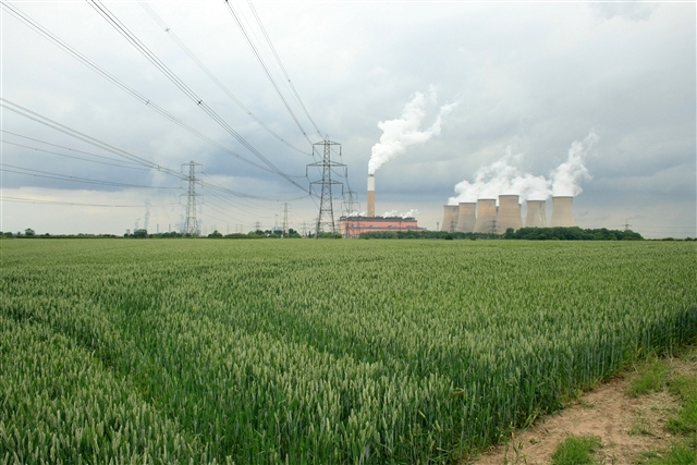 Wheat and power station, from Helenship Lane