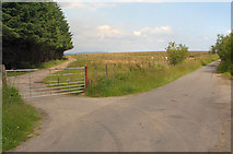 SS8586 : Gated lane junction north of Mynydd Ty-talwyn by eswales