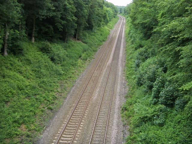 Railway beneath Potkiln Lane Bridge