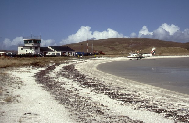 Airport and plane Barra airstrip