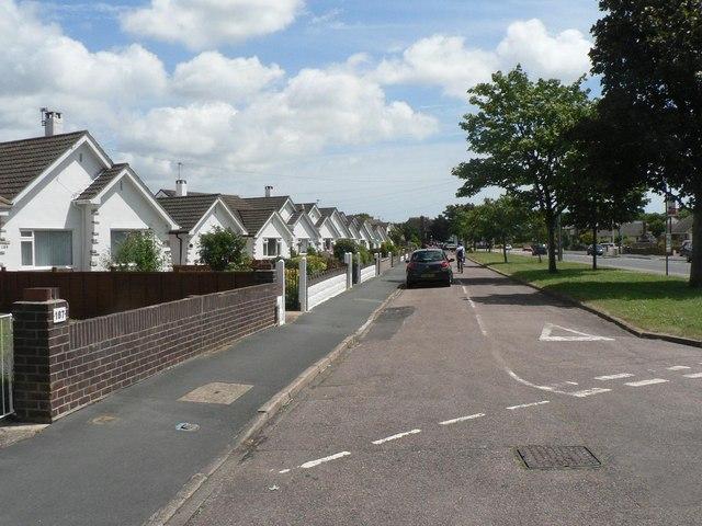 Muscliff: bungalows in Castle Lane