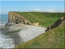 SS9168 : The mouth and beach of Cwm Nash, Nash Point. by Mick Lobb