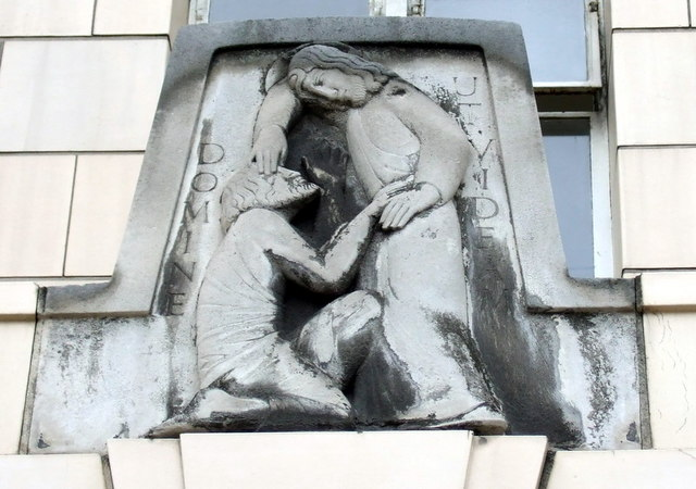 Close-up of Eric Gill relief, Moorfields Eye Hospital