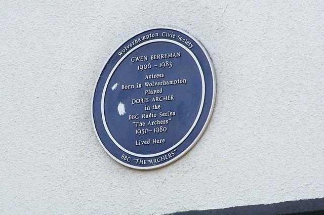 Blue Plaque Goldthorn Hill Road.