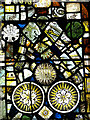 TF8044 : St Mary's church - medieval stained glass detail by Evelyn Simak