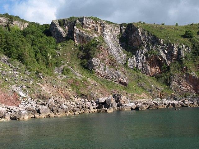 Cliffs above Redgate Beach