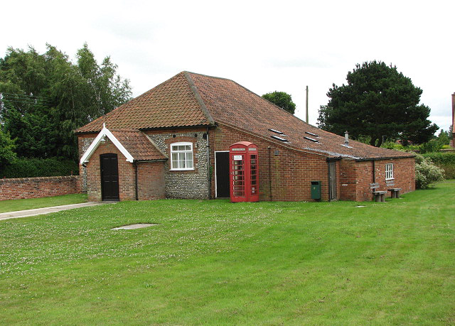 Village hall and red telephone box