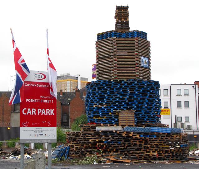 Car park bonfire, Belfast